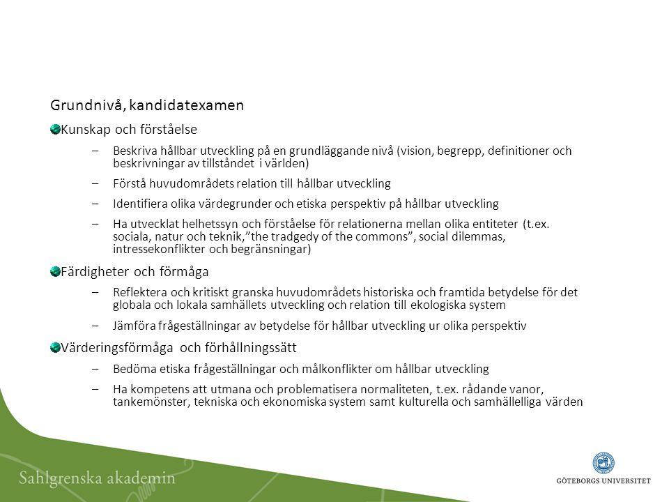 Grundnivå, kandidatexamen Kunskap och förståelse –Beskriva hållbar utveckling på en grundläggande nivå (vision, begrepp, definitioner och beskrivningar av tillståndet i världen) –Förstå huvudområdets relation till hållbar utveckling –Identifiera olika värdegrunder och etiska perspektiv på hållbar utveckling –Ha utvecklat helhetssyn och förståelse för relationerna mellan olika entiteter (t.ex.