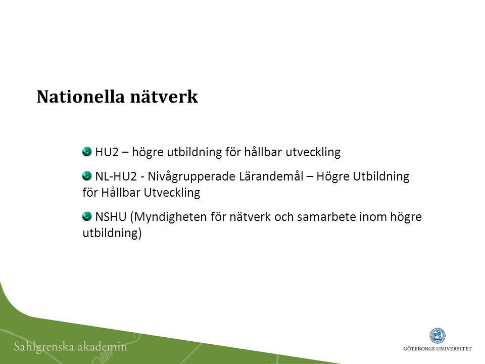 Nationella nätverk HU2 – högre utbildning för hållbar utveckling NL-HU2 - Nivågrupperade Lärandemål – Högre Utbildning för Hållbar Utveckling NSHU (Myndigheten för nätverk och samarbete inom högre utbildning)