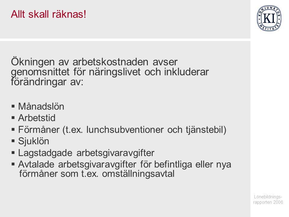 Lönebildnings- rapporten 2006 Allt skall räknas.