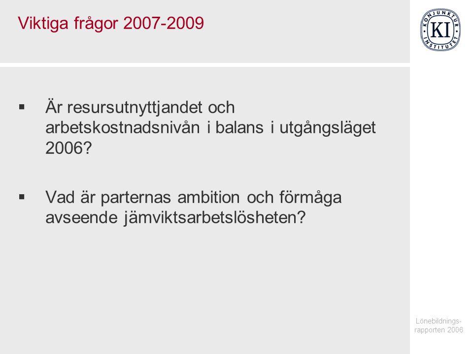 Lönebildnings- rapporten 2006 Viktiga frågor 2007-2009  Är resursutnyttjandet och arbetskostnadsnivån i balans i utgångsläget 2006.