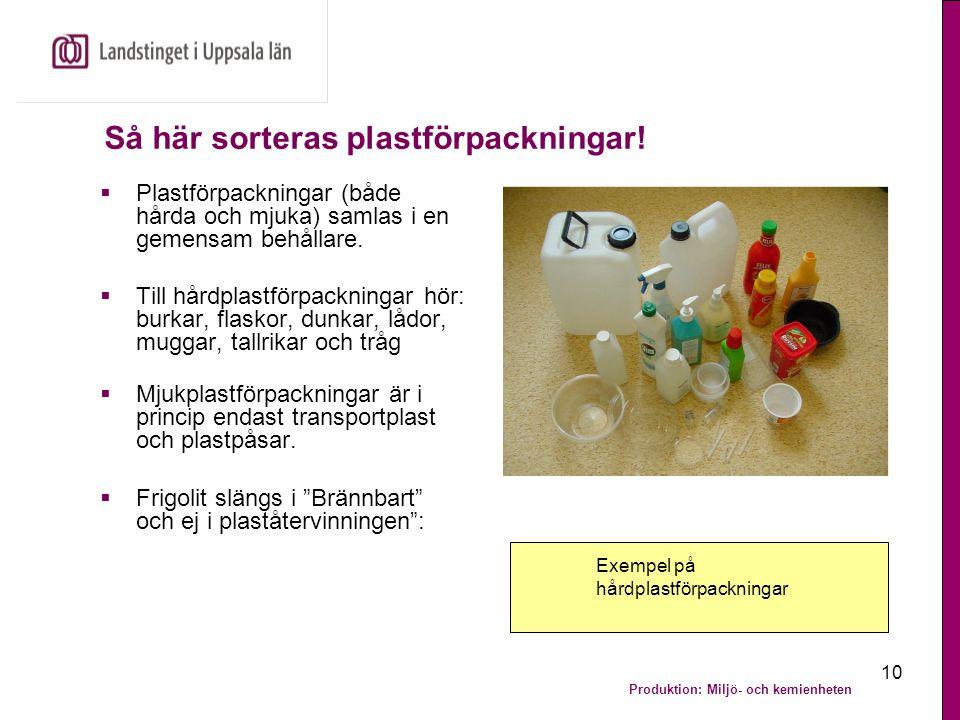 Produktion: Miljö- och kemienheten 10 Så här sorteras plastförpackningar!  Plastförpackningar (både hårda och mjuka) samlas i en gemensam behållare.