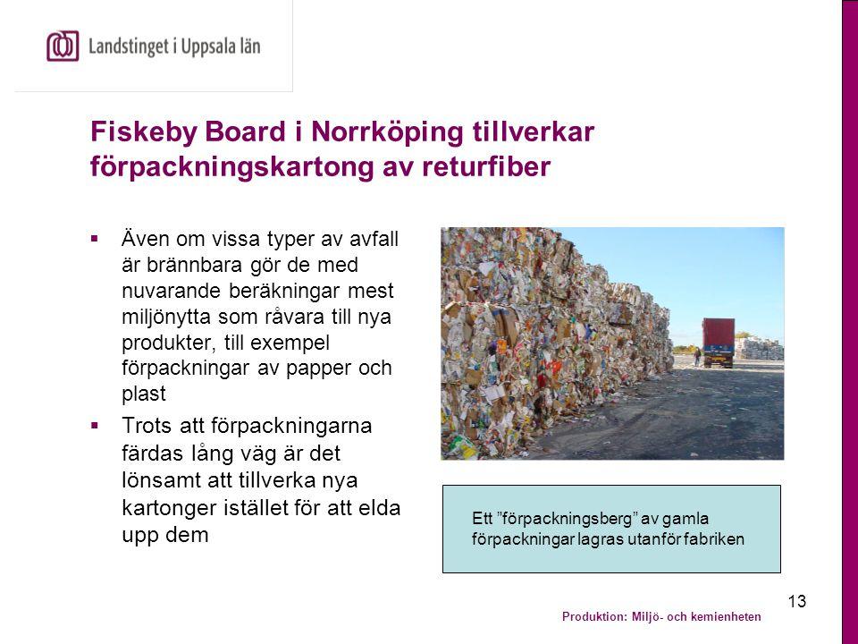 Produktion: Miljö- och kemienheten 13 Fiskeby Board i Norrköping tillverkar förpackningskartong av returfiber  Även om vissa typer av avfall är bränn