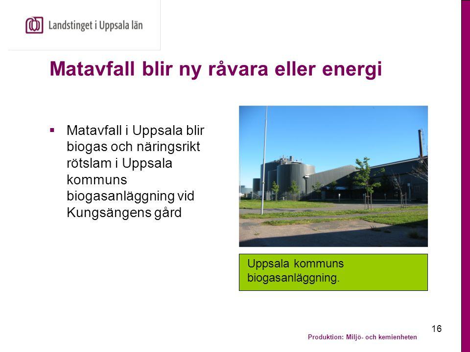 Produktion: Miljö- och kemienheten 16 Matavfall blir ny råvara eller energi  Matavfall i Uppsala blir biogas och näringsrikt rötslam i Uppsala kommun