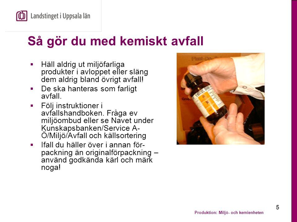 Produktion: Miljö- och kemienheten 16 Matavfall blir ny råvara eller energi  Matavfall i Uppsala blir biogas och näringsrikt rötslam i Uppsala kommuns biogasanläggning vid Kungsängens gård Uppsala kommuns biogasanläggning.