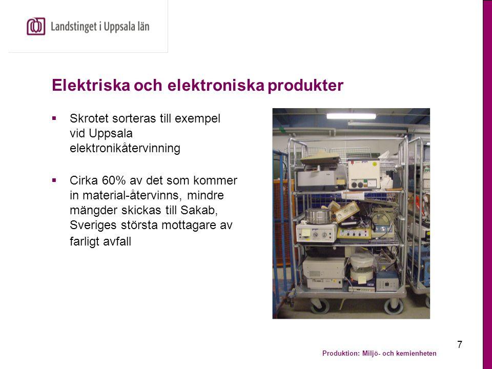 Produktion: Miljö- och kemienheten 7 Elektriska och elektroniska produkter  Skrotet sorteras till exempel vid Uppsala elektronikåtervinning  Cirka 6