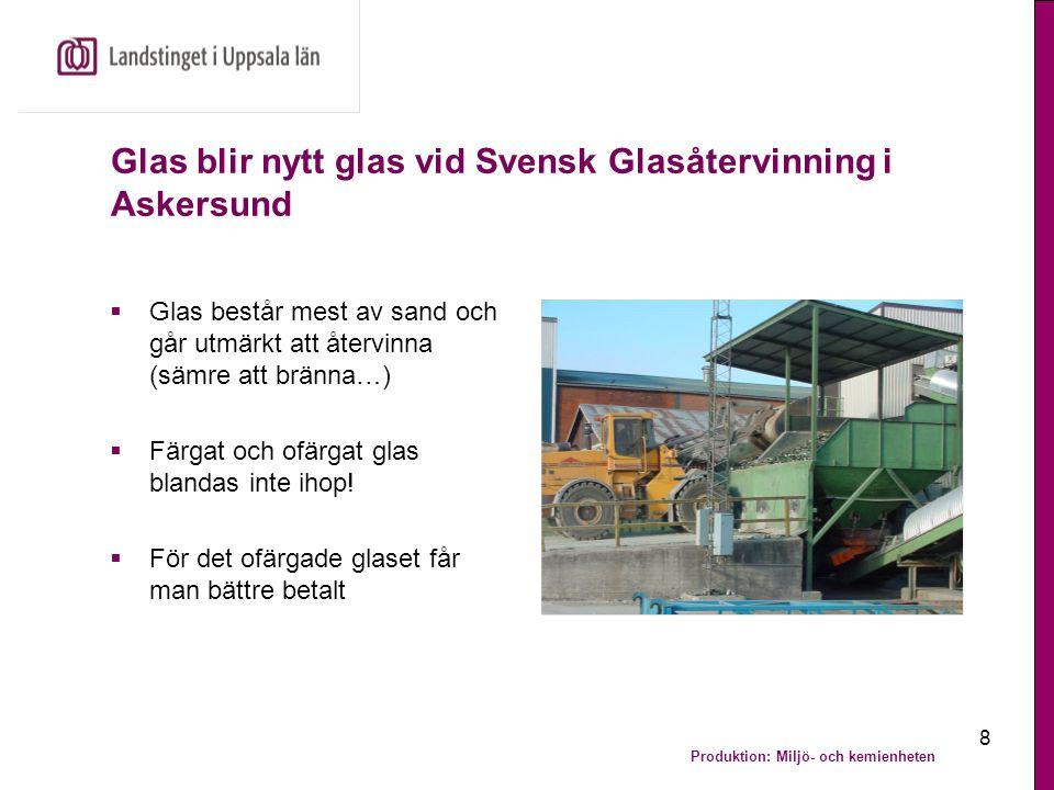 Produktion: Miljö- och kemienheten 9 Personal i nästa led hanterar avfallet  Personalen på Svensk Glasåtervinning i Askersund synar glaset  Glödlampor, porslin och annat olämpligt rensas bort  Före den manuella hanteringen har automatiska avskiljare sorterat bort till exempel magnetiskt material