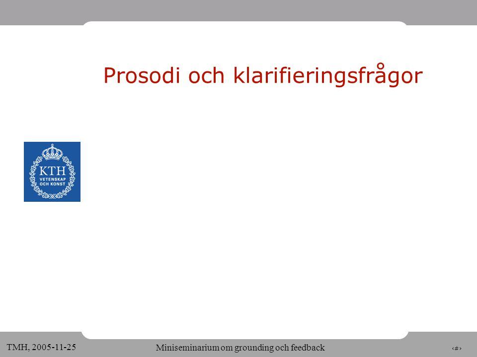 3 TMH, 2005-11-25 Miniseminarium om grounding och feedback Prosodi och klarifieringsfrågor