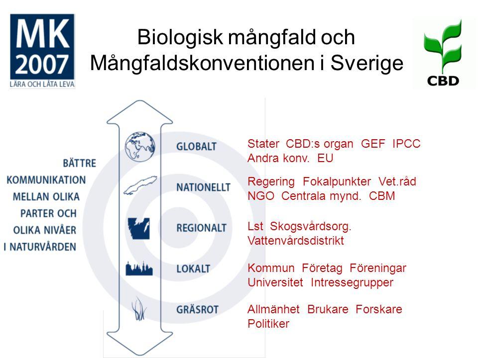 Biologisk mångfald och Mångfaldskonventionen i Sverige Stater CBD:s organ GEF IPCC Andra konv. EU Lst Skogsvårdsorg. Vattenvårdsdistrikt Regering Foka