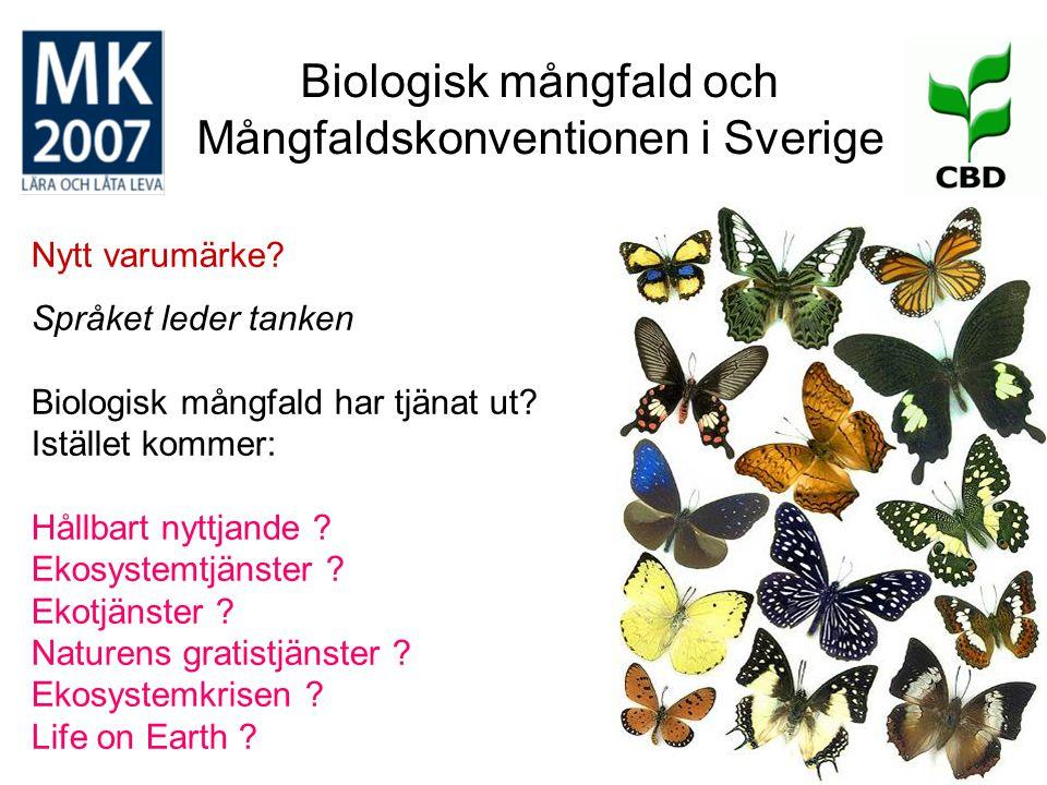 Biologisk mångfald och Mångfaldskonventionen i Sverige Nytt varumärke? Språket leder tanken Biologisk mångfald har tjänat ut? Istället kommer: Hållbar