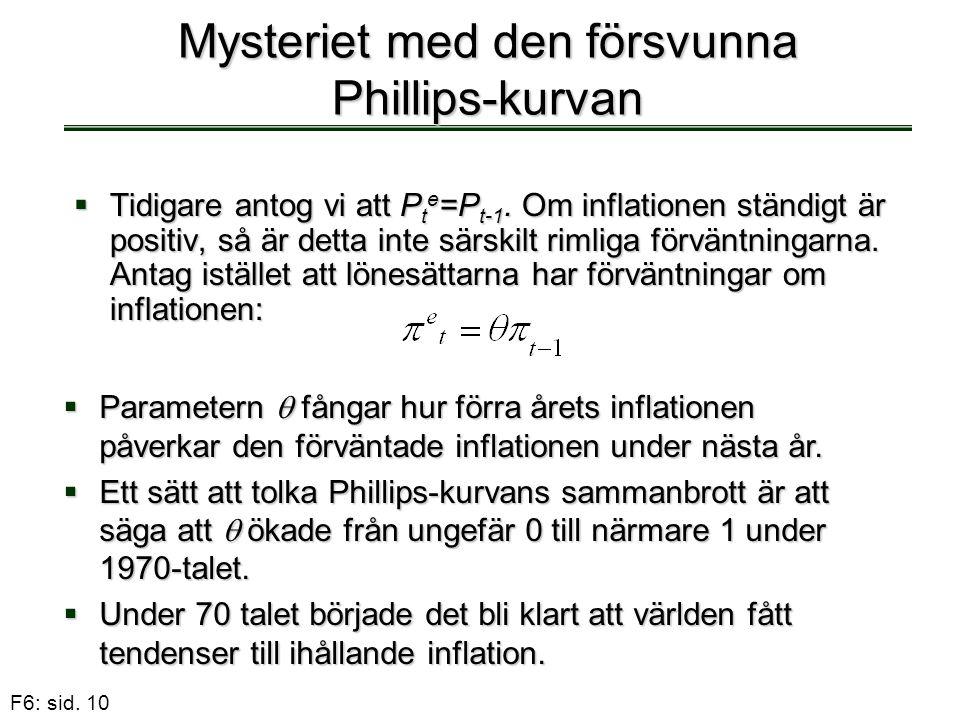 F6: sid. 10 Mysteriet med den försvunna Phillips-kurvan  Tidigare antog vi att P t e =P t-1. Om inflationen ständigt är positiv, så är detta inte sär