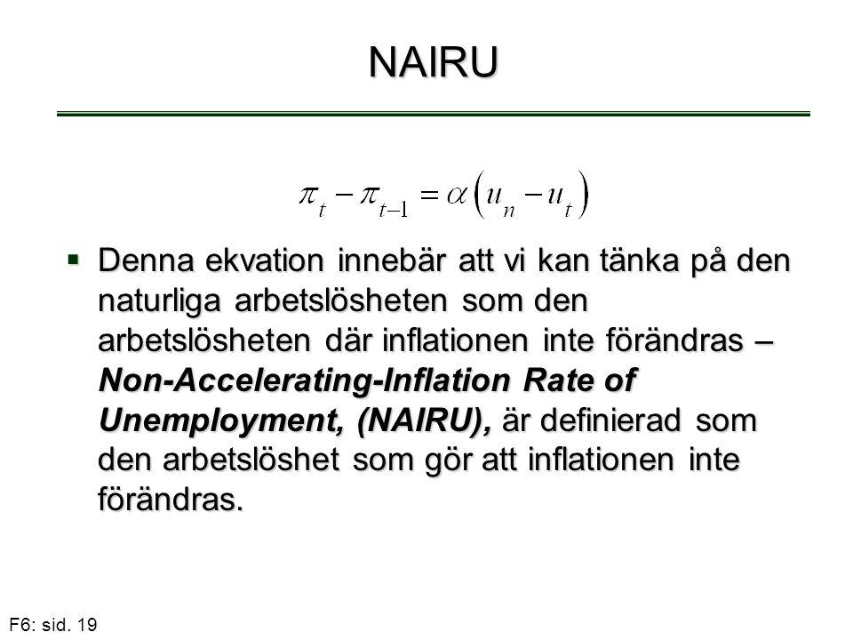 F6: sid. 19 NAIRU  Denna ekvation innebär att vi kan tänka på den naturliga arbetslösheten som den arbetslösheten där inflationen inte förändras – No