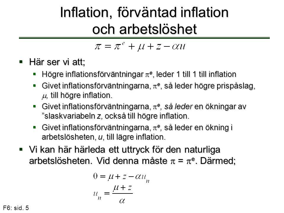 F6: sid. 5 Inflation, förväntad inflation och arbetslöshet  Här ser vi att;  Högre inflationsförväntningar  e, leder 1 till 1 till inflation  Give