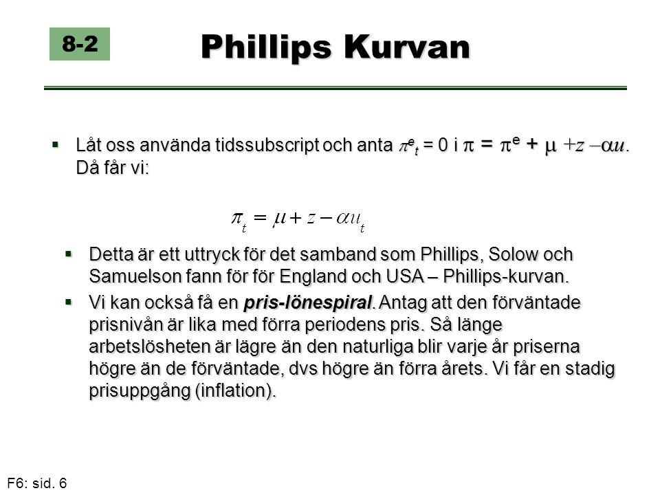 F6: sid. 6 Phillips Kurvan  Låt oss använda tidssubscript och anta  e t = 0 i  =  e +  +z –  u. Då får vi: 8-2  Detta är ett uttryck för det sa