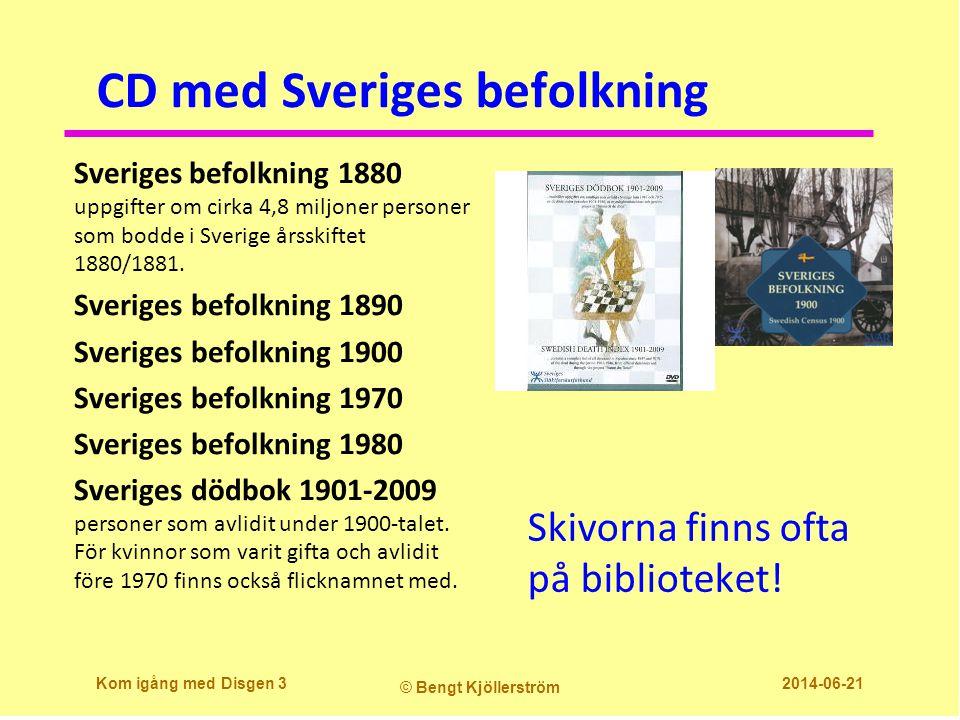 CD med Sveriges befolkning Sveriges befolkning 1880 uppgifter om cirka 4,8 miljoner personer som bodde i Sverige årsskiftet 1880/1881.