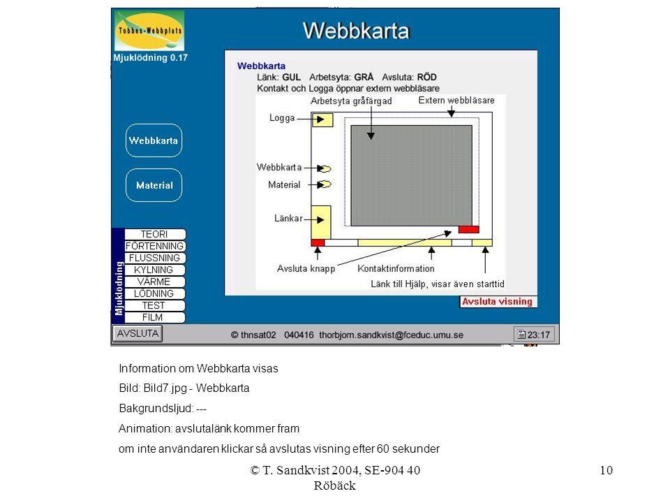 © T. Sandkvist 2004, SE-904 40 Röbäck 10 Information om Webbkarta visas Bild: Bild7.jpg - Webbkarta Bakgrundsljud: --- Animation: avslutalänk kommer f