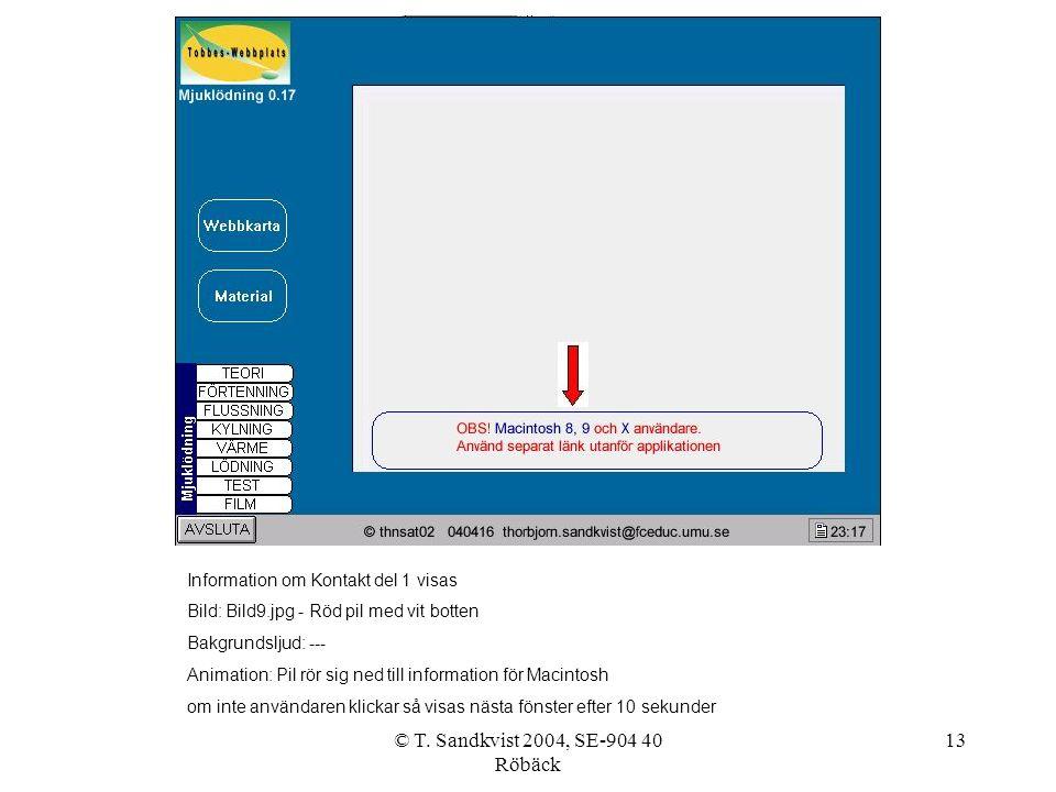 © T. Sandkvist 2004, SE-904 40 Röbäck 13 Information om Kontakt del 1 visas Bild: Bild9.jpg - Röd pil med vit botten Bakgrundsljud: --- Animation: Pil
