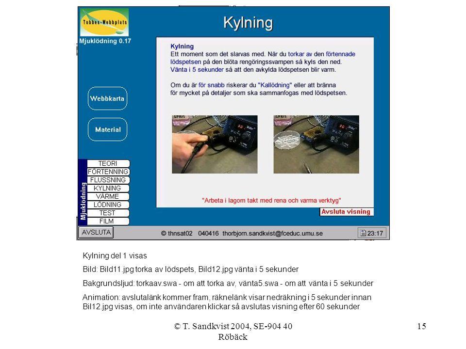 © T. Sandkvist 2004, SE-904 40 Röbäck 15 Kylning del 1 visas Bild: Bild11.jpg torka av lödspets, Bild12.jpg vänta i 5 sekunder Bakgrundsljud: torkaav.