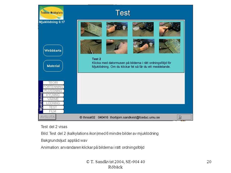 © T. Sandkvist 2004, SE-904 40 Röbäck 20 Test del 2 visas Bild: Test del 2 (kalkylations ikon)med 6 mindre bilder av mjuklödning Bakgrundsljud: applåd