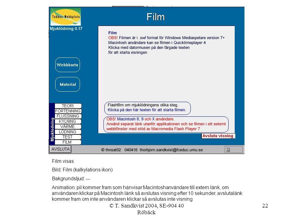 © T. Sandkvist 2004, SE-904 40 Röbäck 22 Film visas Bild: Film (kalkylations ikon) Bakgrundsljud: --- Animation: pil kommer fram som hänvisar Macintos