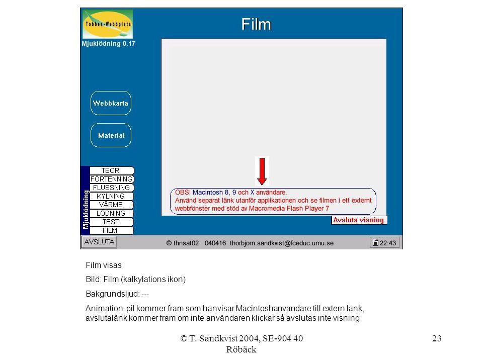 © T. Sandkvist 2004, SE-904 40 Röbäck 23 Film visas Bild: Film (kalkylations ikon) Bakgrundsljud: --- Animation: pil kommer fram som hänvisar Macintos