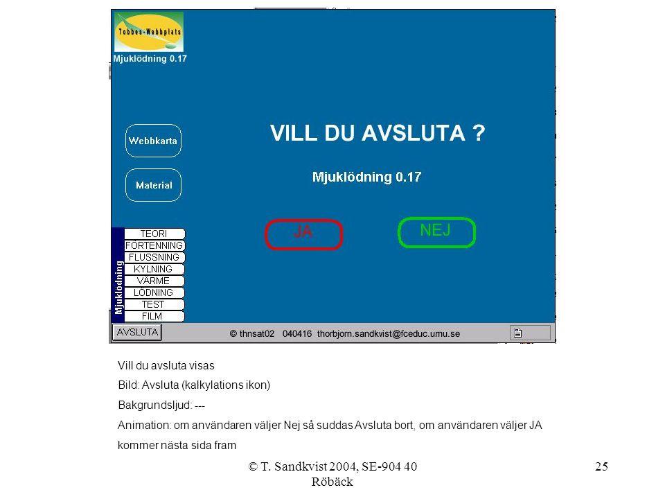 © T. Sandkvist 2004, SE-904 40 Röbäck 25 Vill du avsluta visas Bild: Avsluta (kalkylations ikon) Bakgrundsljud: --- Animation: om användaren väljer Ne