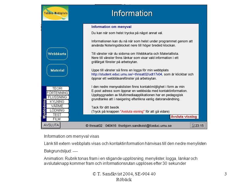 © T. Sandkvist 2004, SE-904 40 Röbäck 3 Information om menyval visas Länk till extern webbplats visas och kontaktinformation hänvisas till den nedre m