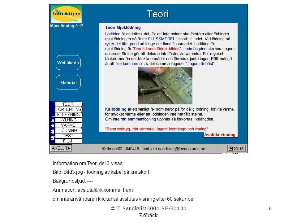 © T. Sandkvist 2004, SE-904 40 Röbäck 6 Information om Teori del 3 visas Bild: Bild3.jpg - lödning av kabel på kretskort Bakgrundsljud: ---- Animation