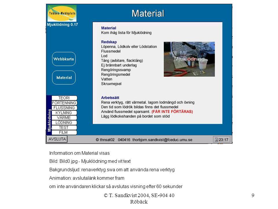 © T. Sandkvist 2004, SE-904 40 Röbäck 9 Information om Material visas Bild: Bild0.jpg - Mjuklödning med vit text Bakgrundsljud: renaverktyg.swa om att
