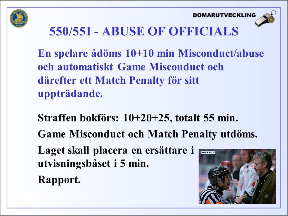 En spelare ådöms 10+10 min Misconduct/abuse och automatiskt Game Misconduct och därefter ett Match Penalty för sitt uppträdande.