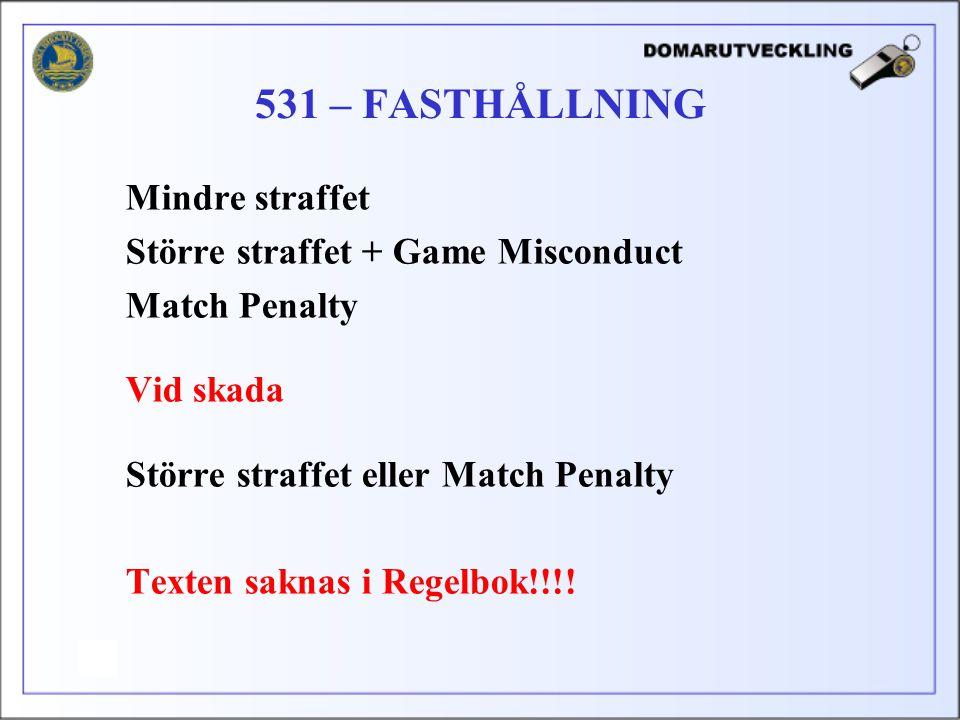 Mindre straffet Större straffet + Game Misconduct Match Penalty Vid skada Större straffet eller Match Penalty Texten saknas i Regelbok!!!.