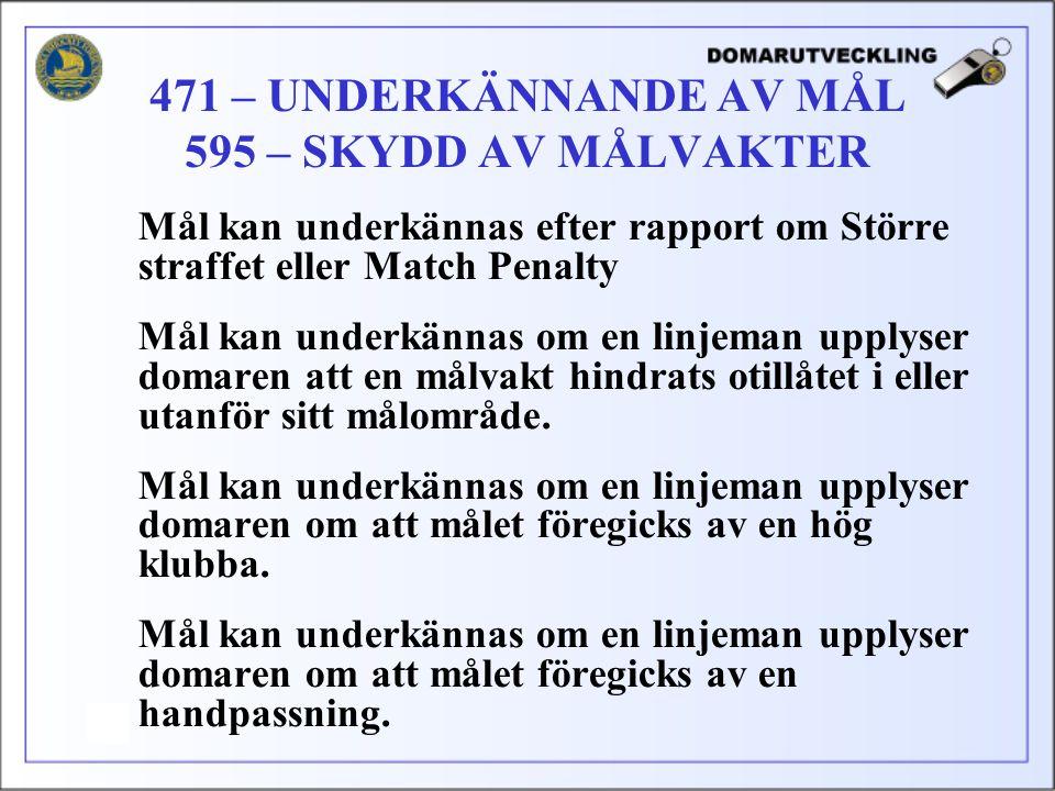 Mål kan underkännas efter rapport om Större straffet eller Match Penalty Mål kan underkännas om en linjeman upplyser domaren att en målvakt hindrats otillåtet i eller utanför sitt målområde.