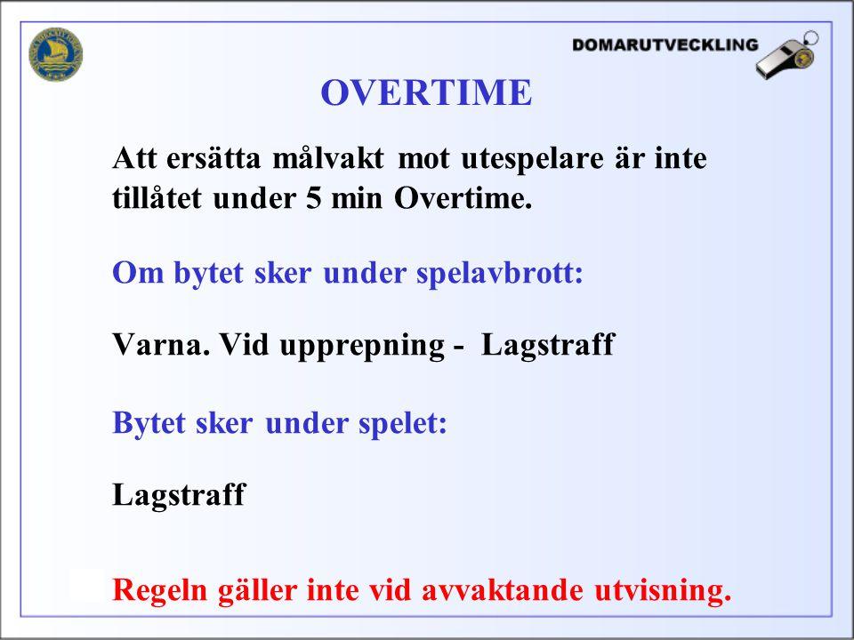 Att ersätta målvakt mot utespelare är inte tillåtet under 5 min Overtime.