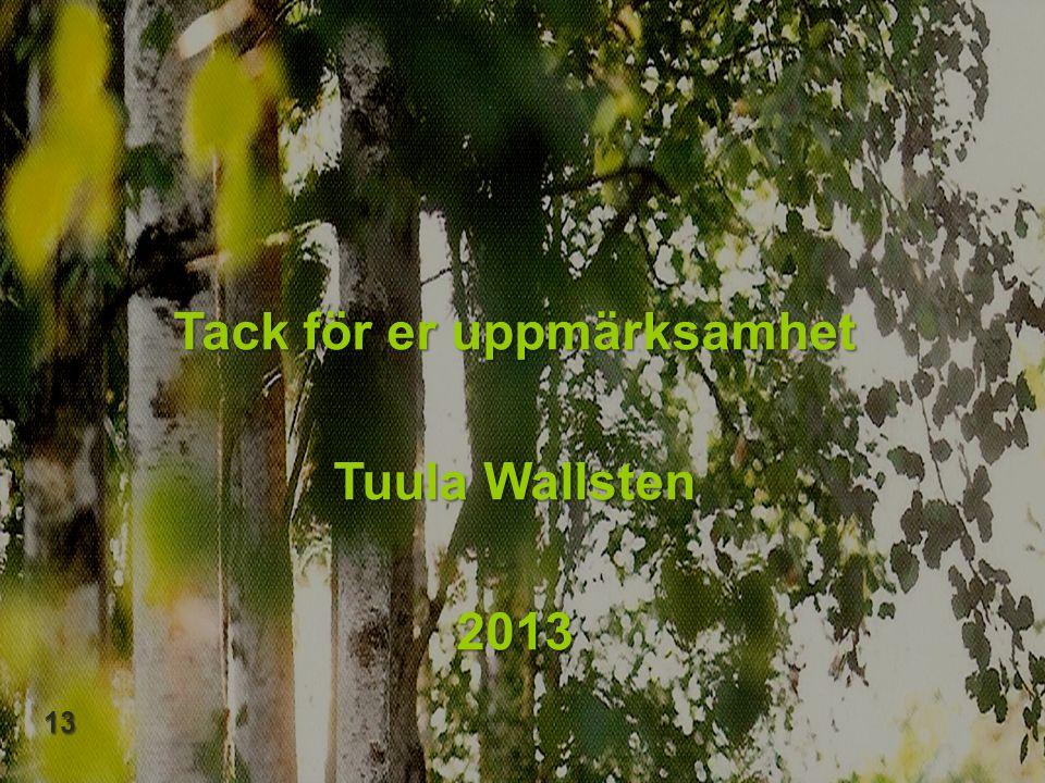 Tack för er uppmärksamhet Tuula Wallsten 2013 13 13