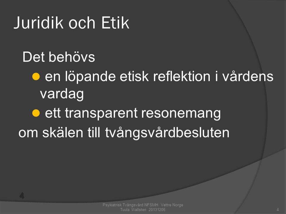 Det behövs  en löpande etisk reflektion i vårdens vardag  ett transparent resonemang om skälen till tvångsvårdbesluten Psykiatrisk Tvångsvård NFSMH