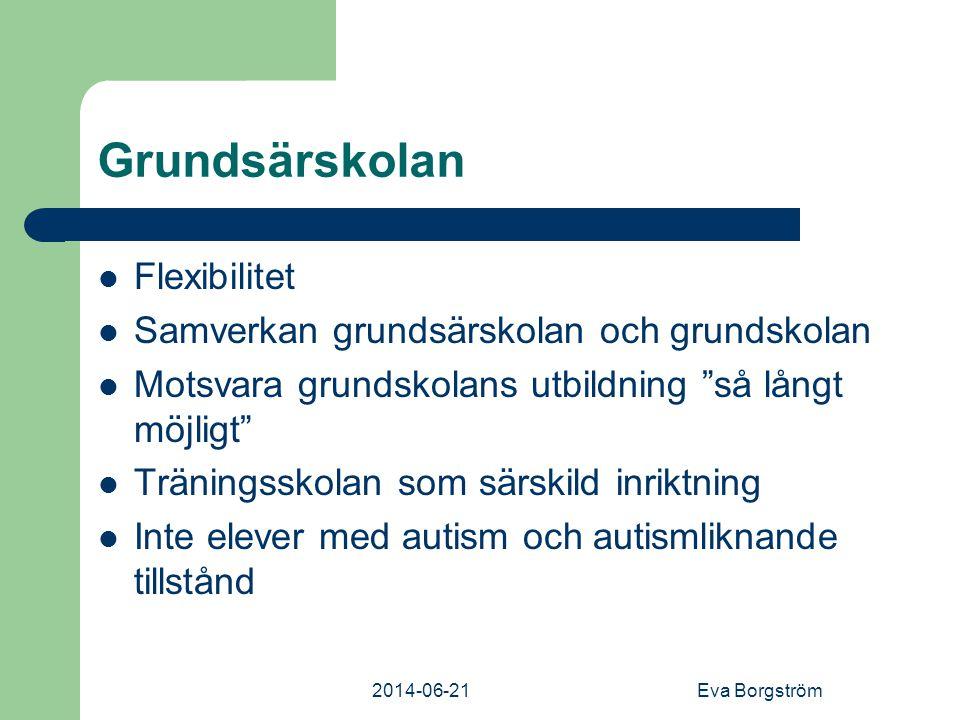 2014-06-21Eva Borgström Grundsärskolan  Flexibilitet  Samverkan grundsärskolan och grundskolan  Motsvara grundskolans utbildning så långt möjligt  Träningsskolan som särskild inriktning  Inte elever med autism och autismliknande tillstånd