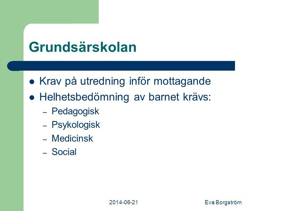 2014-06-21Eva Borgström Grundsärskolan  Krav på utredning inför mottagande  Helhetsbedömning av barnet krävs: – Pedagogisk – Psykologisk – Medicinsk – Social