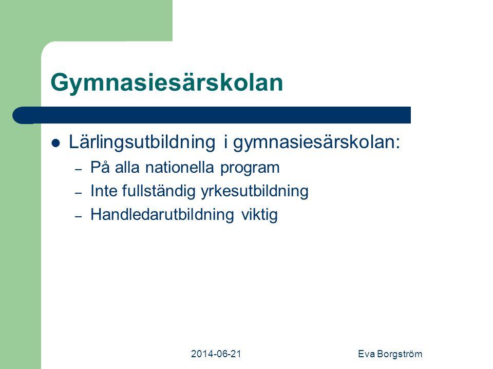 2014-06-21Eva Borgström Gymnasiesärskolan  Lärlingsutbildning i gymnasiesärskolan: – På alla nationella program – Inte fullständig yrkesutbildning – Handledarutbildning viktig