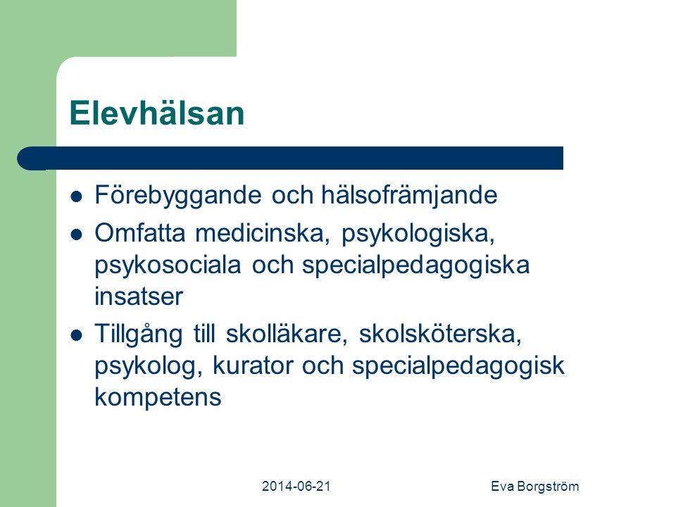 2014-06-21Eva Borgström Elevhälsan  Förebyggande och hälsofrämjande  Omfatta medicinska, psykologiska, psykosociala och specialpedagogiska insatser  Tillgång till skolläkare, skolsköterska, psykolog, kurator och specialpedagogisk kompetens