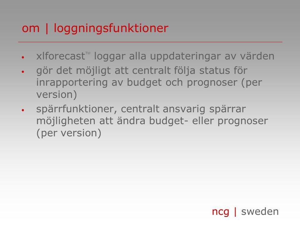 ncg | sweden • xlforecast  loggar alla uppdateringar av värden • gör det möjligt att centralt följa status för inrapportering av budget och prognoser