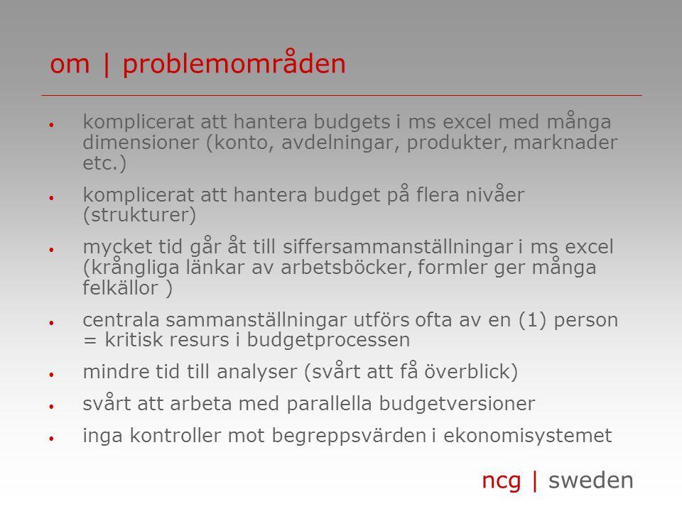 ncg | sweden • komplicerat att hantera budgets i ms excel med många dimensioner (konto, avdelningar, produkter, marknader etc.) • komplicerat att hant