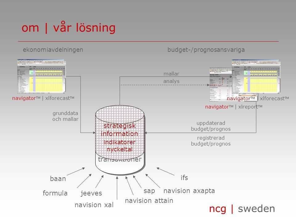 ncg | sweden transaktioner strategisk information indikatorer nyckeltal om | vår lösning formula sap jeeves navision axapta navision xal navision atta