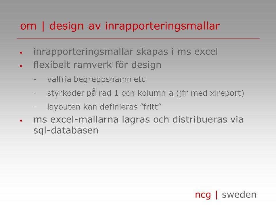 ncg | sweden • inrapporteringsmallar skapas i ms excel • flexibelt ramverk för design -valfria begreppsnamn etc -styrkoder på rad 1 och kolumn a (jfr