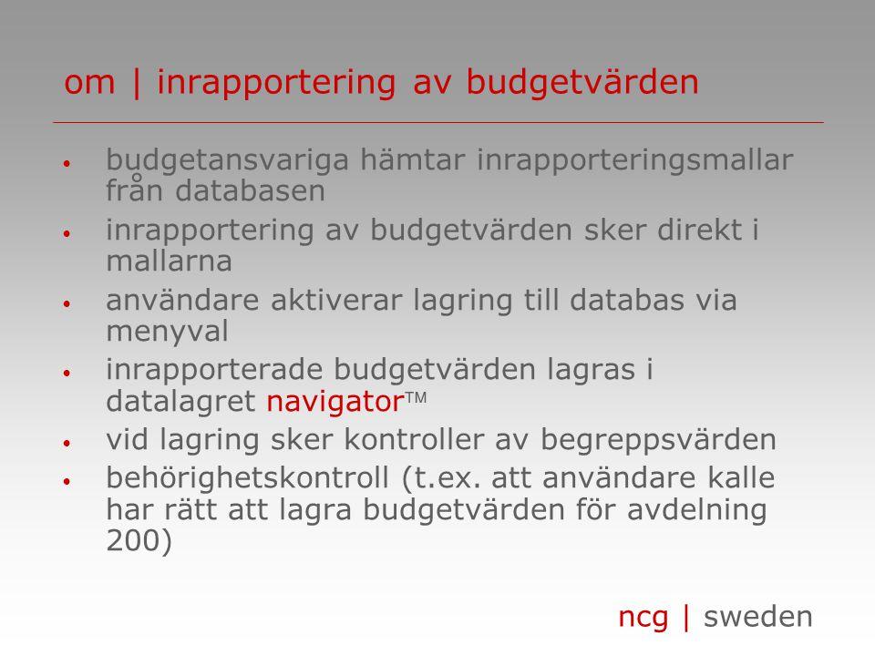 ncg | sweden • budgetansvariga hämtar inrapporteringsmallar från databasen • inrapportering av budgetvärden sker direkt i mallarna • användare aktiver