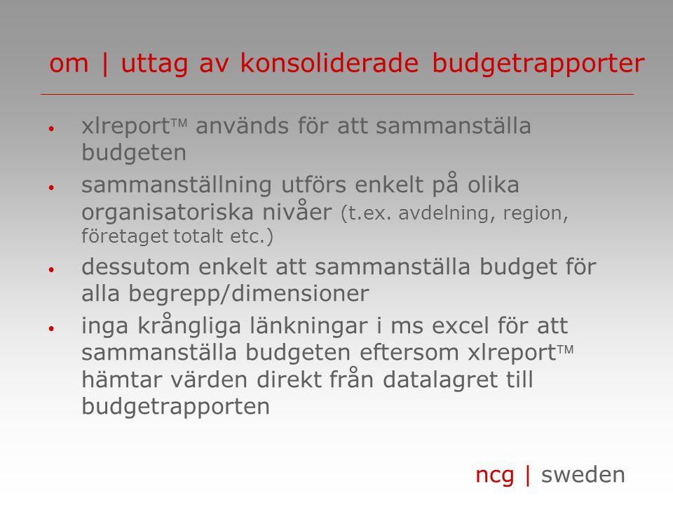 ncg | sweden • xlreport används för att sammanställa budgeten • sammanställning utförs enkelt på olika organisatoriska nivåer (t.ex. avdelning, regio