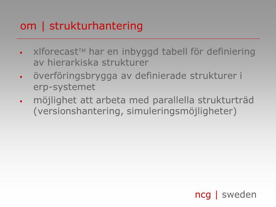 ncg | sweden • xlforecast har en inbyggd tabell för definiering av hierarkiska strukturer • överföringsbrygga av definierade strukturer i erp-systeme