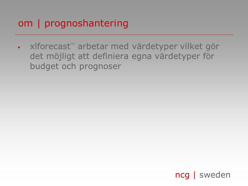 ncg | sweden • xlforecast  arbetar med värdetyper vilket gör det möjligt att definiera egna värdetyper för budget och prognoser om | prognoshantering