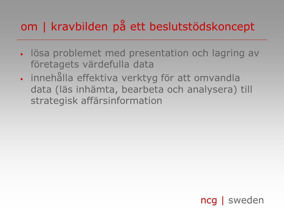 ncg | sweden innehåller • metoder för identifiering och strukturering av en verksamhets styrande nyckeltal/mål • färdiga koncept / lösningar • information i form av tabeller, kartor, diagram eller rapporter förenklar • analysen av verksamhetens möjligheter och problem • möjligheten att reagera och agera snabbt om | navigator beslutstödsportalen 1(4)
