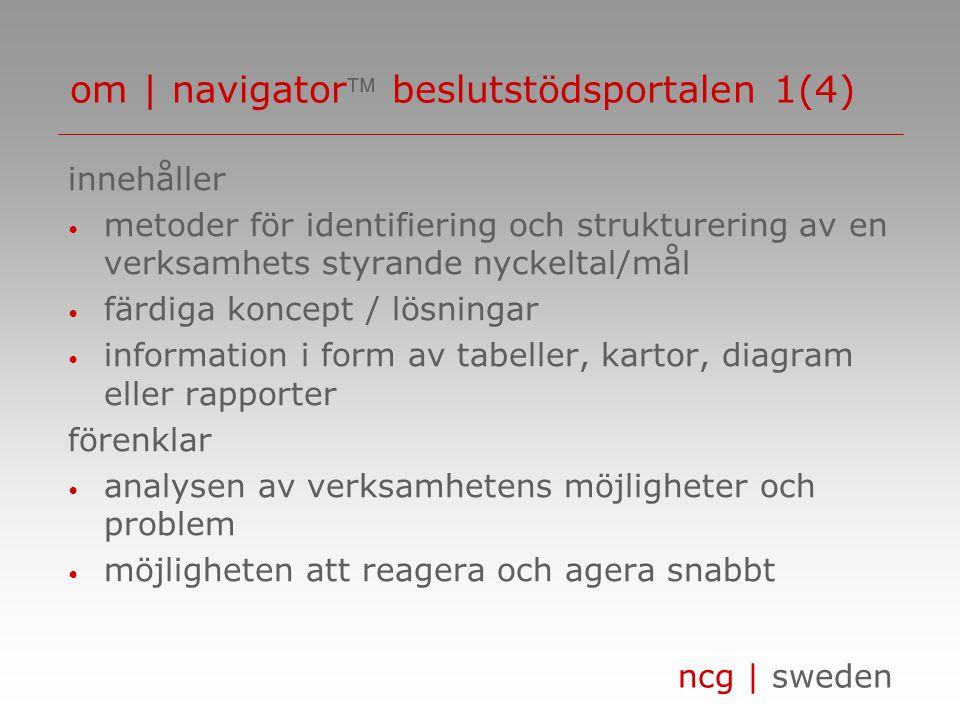 ncg | sweden leder till • bättre service • nöjdare kunder/leverantörer • högre intäkter/lägre kostnader • förbättrad lönsamhet stödjer • beslutsfattarna i att kundorientera (CRM) och leverantörsorientera (SRM) verksamheten med målet att via ökad kunskap om verksamheten och dess kunder/marknader öka kvalitén och lönsamheten om | navigator beslutstödsportalen 2(4)
