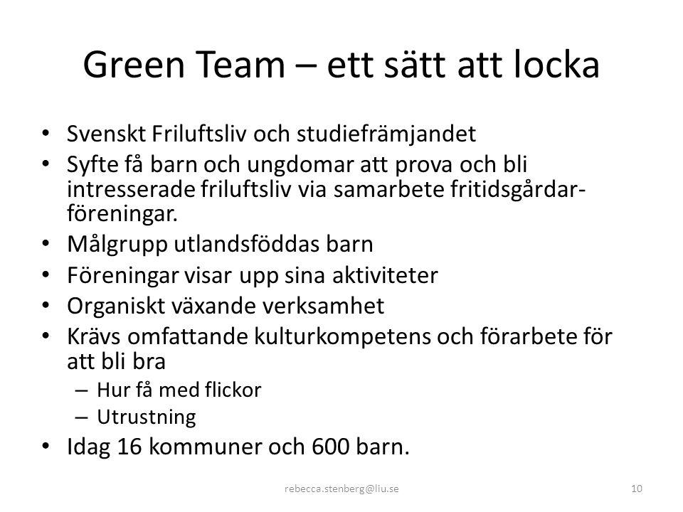 Green Team – ett sätt att locka • Svenskt Friluftsliv och studiefrämjandet • Syfte få barn och ungdomar att prova och bli intresserade friluftsliv via samarbete fritidsgårdar- föreningar.