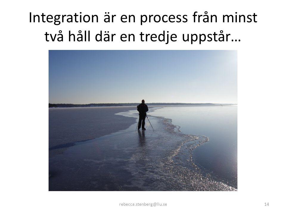 Integration är en process från minst två håll där en tredje uppstår… rebecca.stenberg@liu.se14